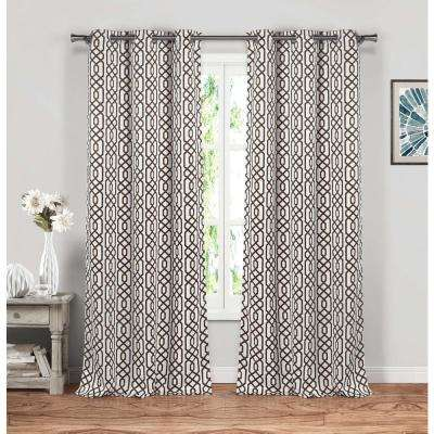 Micah 38 in. W x 84 in. L Polyester Window Panel in Chocolate