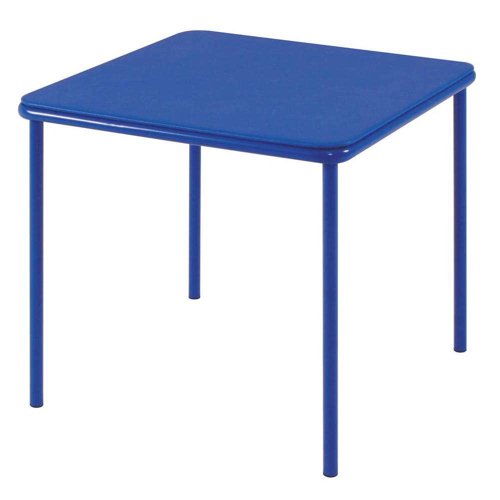 Cosco 24 in. x 24 in. Blue Vinyl Top Juvenile Table with Screw Legs