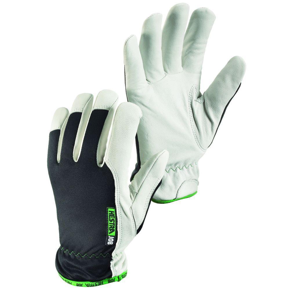 Hestra JOB Kobolt Winter Size 8 Medium Cold Weather Goatskin Leather Glove in White and Black