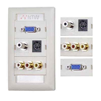 Customizable Unimedia Wall Plate and ID Tag - VGA, 3.5mm Audio, S-Video, Composite Video & RCA Stereo Audio Pass Thru