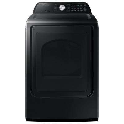 7.4 cu. ft. 240-Volt Black Stainless Steel Electric Dryer with Sanitize (Pedestals Sold Seperately)