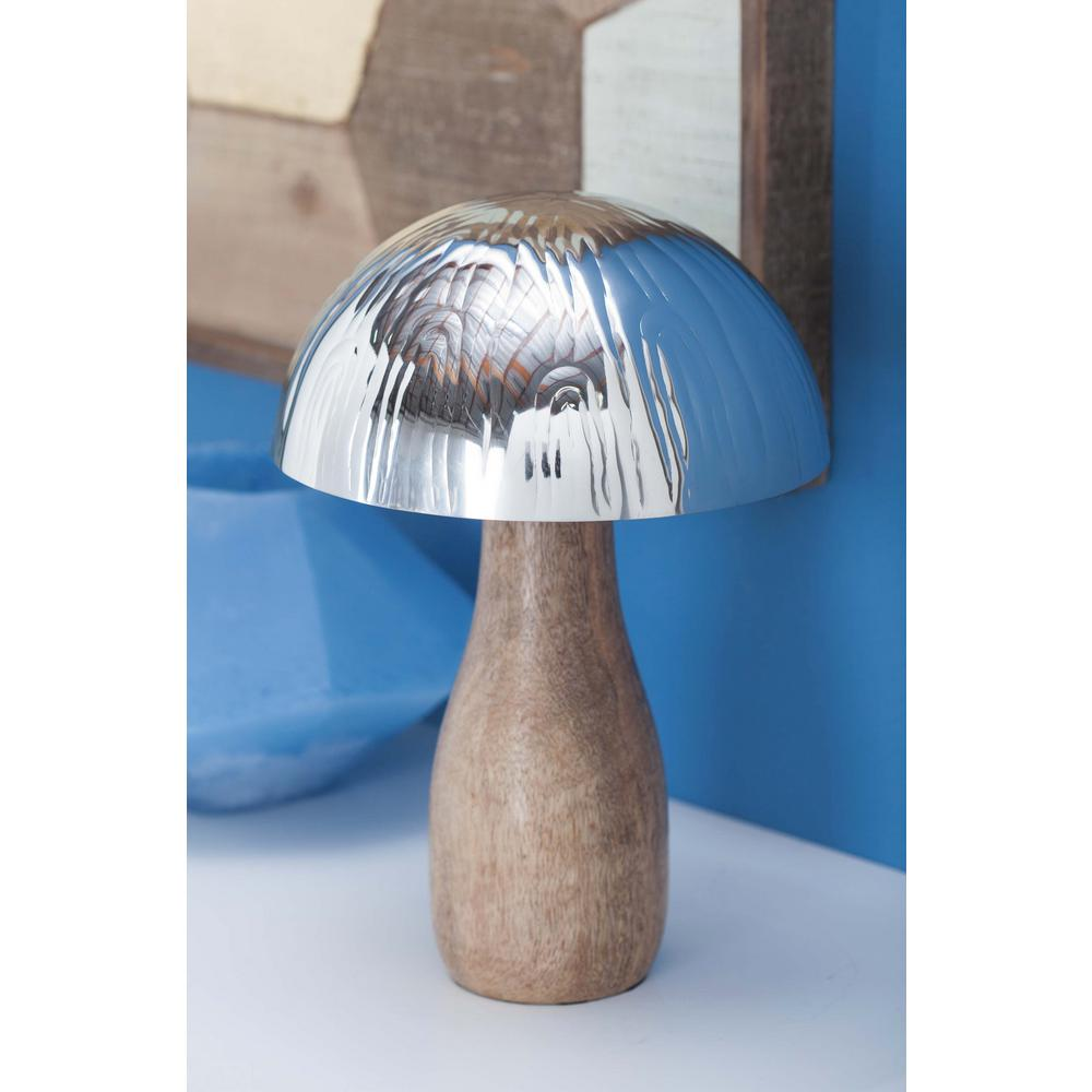 Stainless Steel and Wood Decorative Mushroom Figurine-90895 - The Home Depot