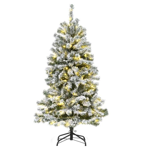 Homcom 4 5 Ft Pre Lit Led Flocked Douglas Fir Artificial Christmas Tree With 200 Led Warm White Lights And 400 Tips 830 288 The Home Depot