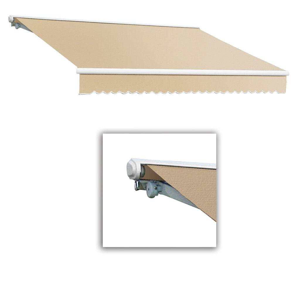 AWNTECH 14 ft. Galveston Semi-Cassette Manual Retractable Awning (120 in. Projection) in Linen