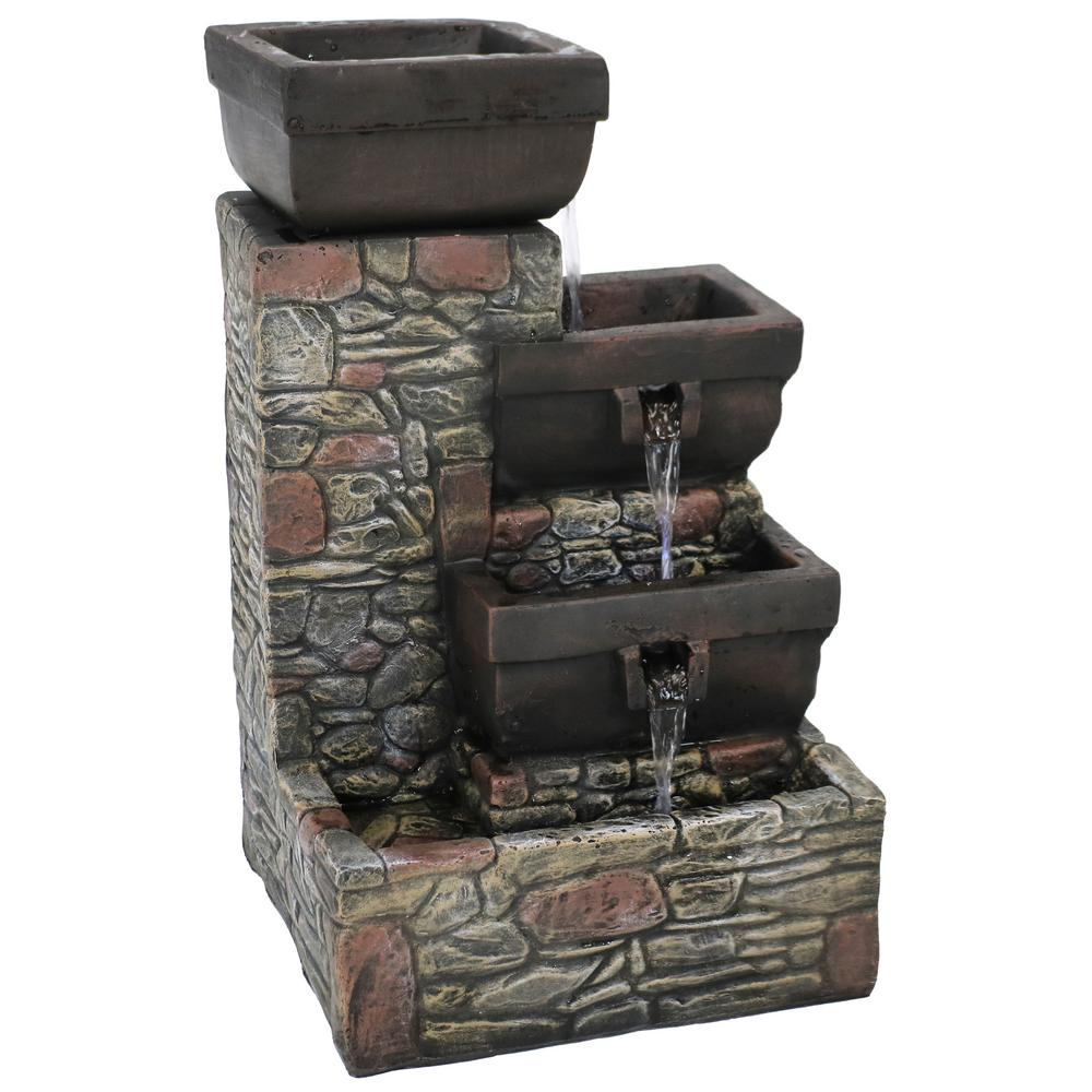 Sunnydaze Decor 4 Tier Outdoor Tiered Water Fountain With Led Lights Patio And Garden Feature