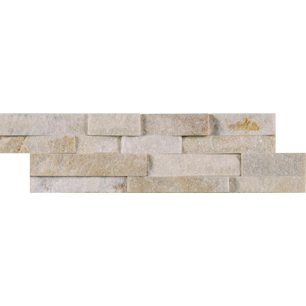 MSI Arctic Golden Mini Ledger Panel 4.5 in. x 16 in. Natural Quartzite Wall Tile (5 sq. ft. / case)
