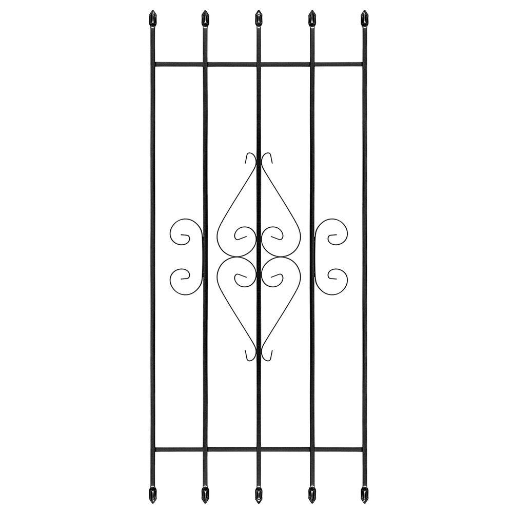 24 in. x 54 in. Su Casa Black 5-Bar Window Guard