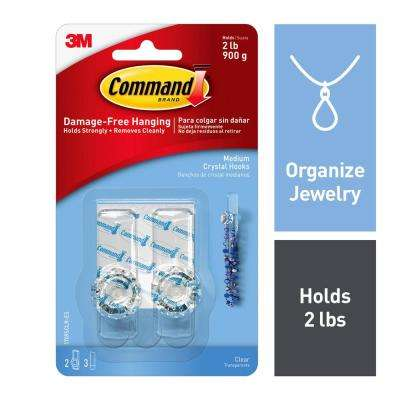 Medium Clear Crystal Hooks (2-Hooks) (3-Adhesive Strips)