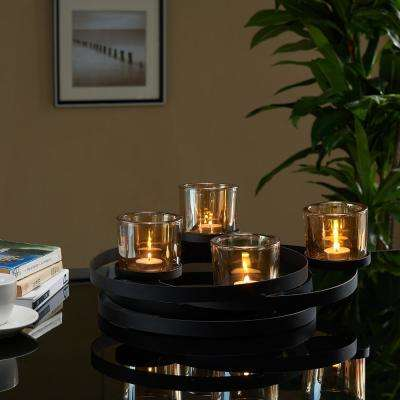 Black Metal Circles Candleholder Centerpiece with Amber Iridescent Glass Cups