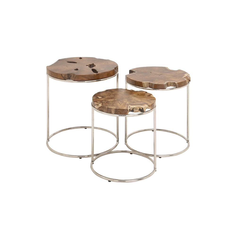 Carmine Faux Marble Coffee Table: Baxton Studio Clear 3-Piece Nesting End Table-28862-2073