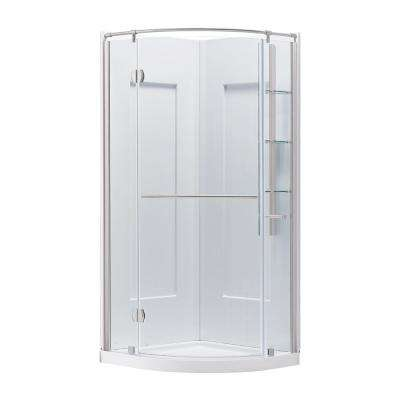 Glamour 33.66 in. x 76.40 in. 2-Piece Direct-to-Stud Corner Shower Wall Set in White