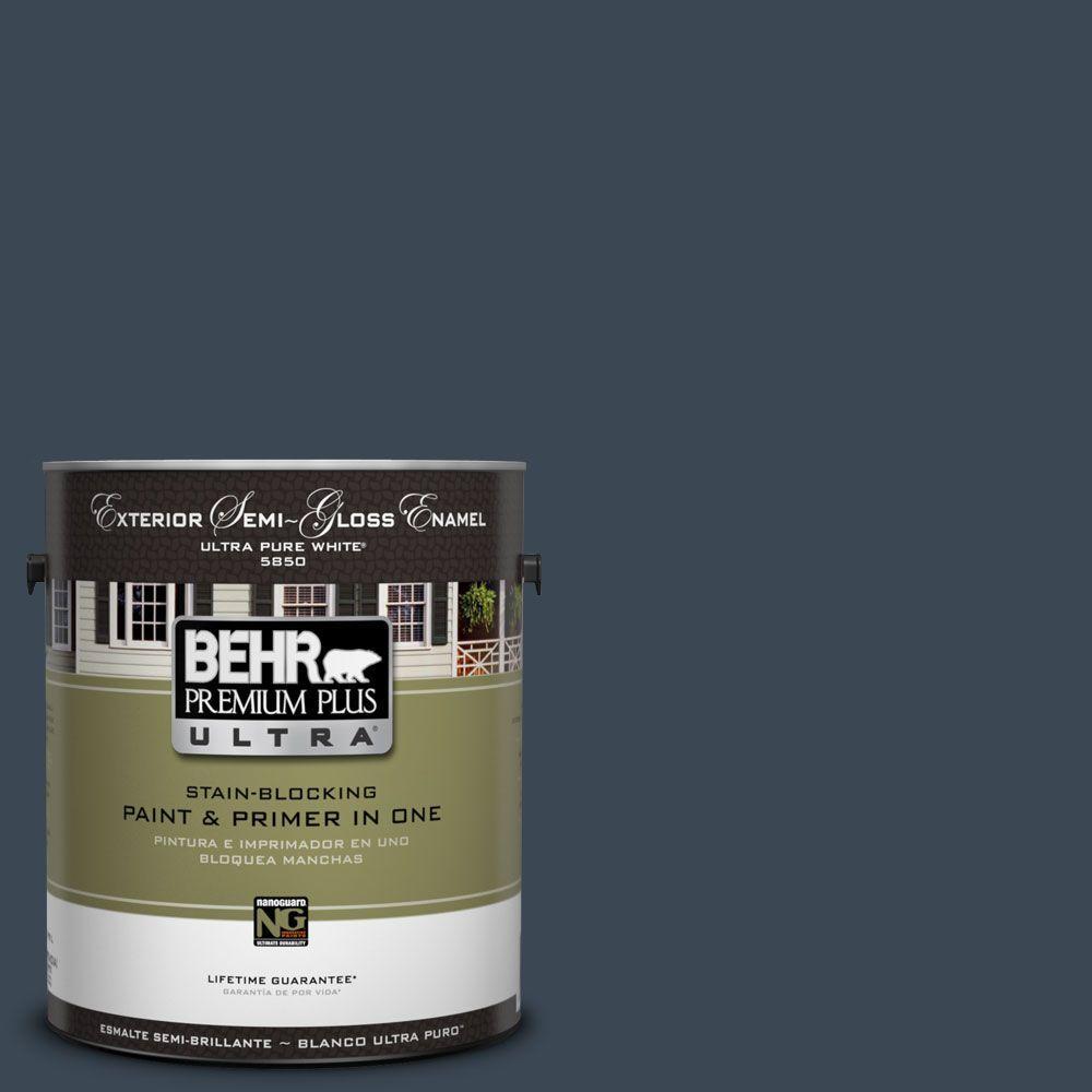 BEHR Premium Plus Ultra 1-Gal. #UL230-1 Starless Night Semi-Gloss Enamel Exterior Paint