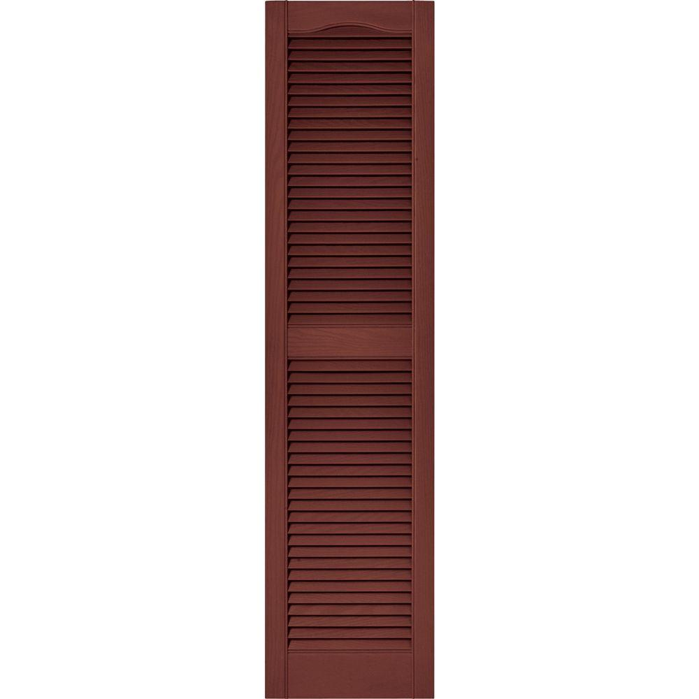 15 in. x 60 in. Louvered Vinyl Exterior Shutters Pair in