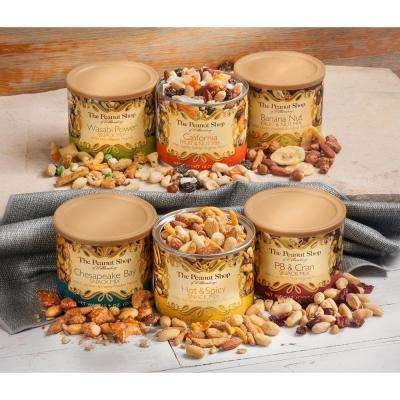 6-Piece Gift Set with Wasabi Power, Chesapeake Bay, Hot and Spicy PB & Cran and Banana Nut Snack Mixes