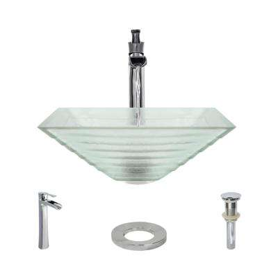 Glass Vessel Sink in Textured with R9-7007 Faucet and Pop-Up Drain in Chrome
