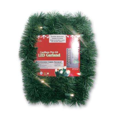Micro Mini 18 ft. Pre-Lit LED Battery Operated Pine Garland with Warm White Lights