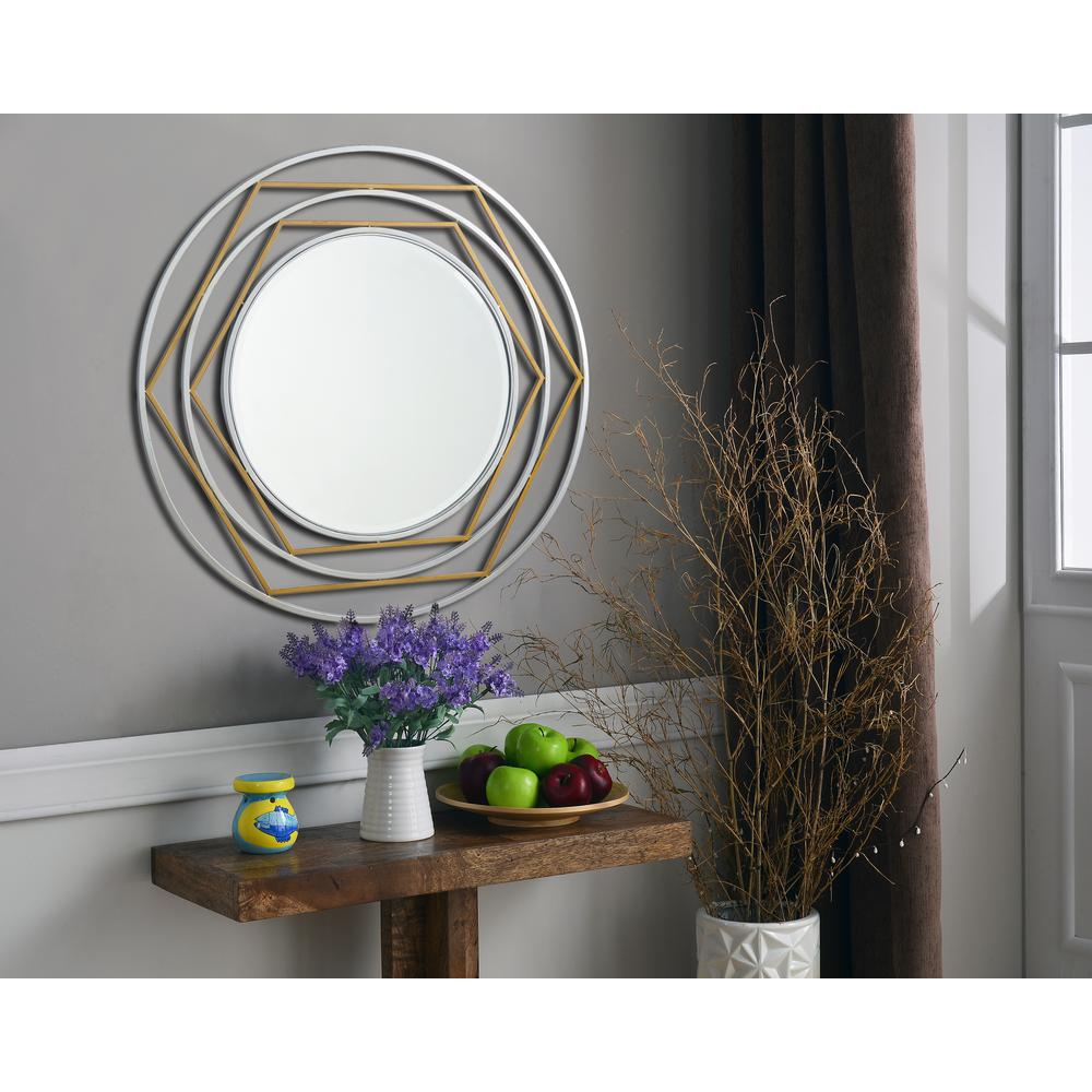Silas Round Gold and Silver Decorative Wall Mirror