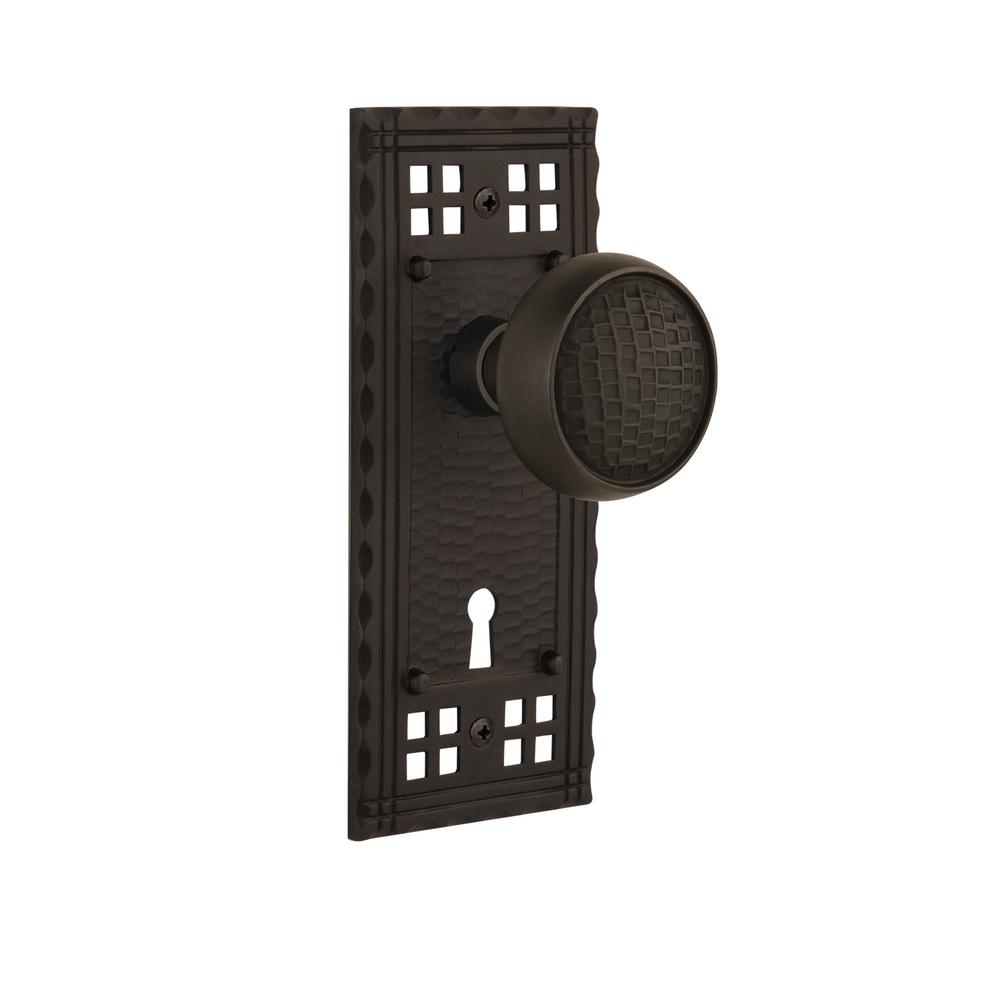 Craftsman Plate with Keyhole Double Dummy Craftsman Door Knob in Oil-Rubbed