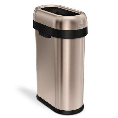 50-Liter Rose Gold Heavy-Gauge Stainless Steel Slim Open Top Trash Can