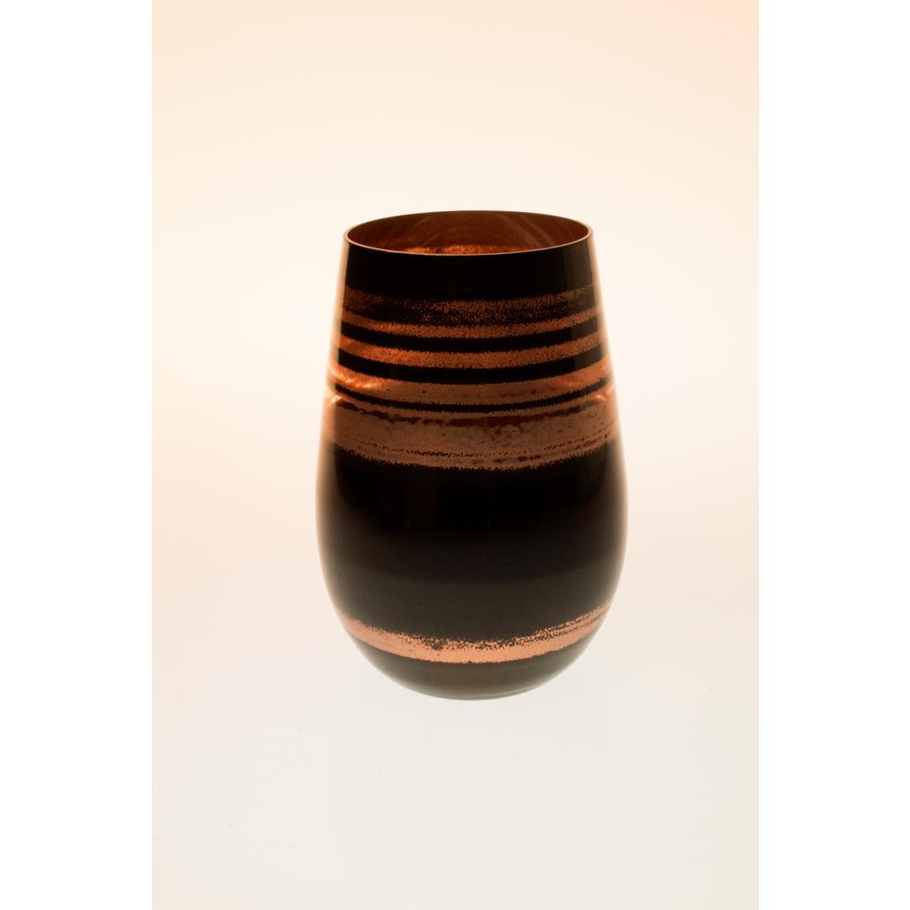 Cosmo 16.5 oz. Stemless Wine Tumbler - Black/Bronze (Set of 4)