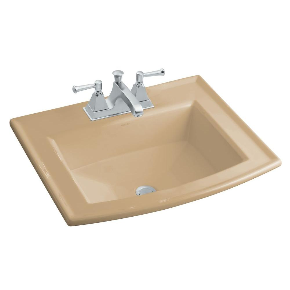 KOHLER Archer Drop-In Vitreous China Bathroom Sink in Mexican Sand with  Overflow Drain