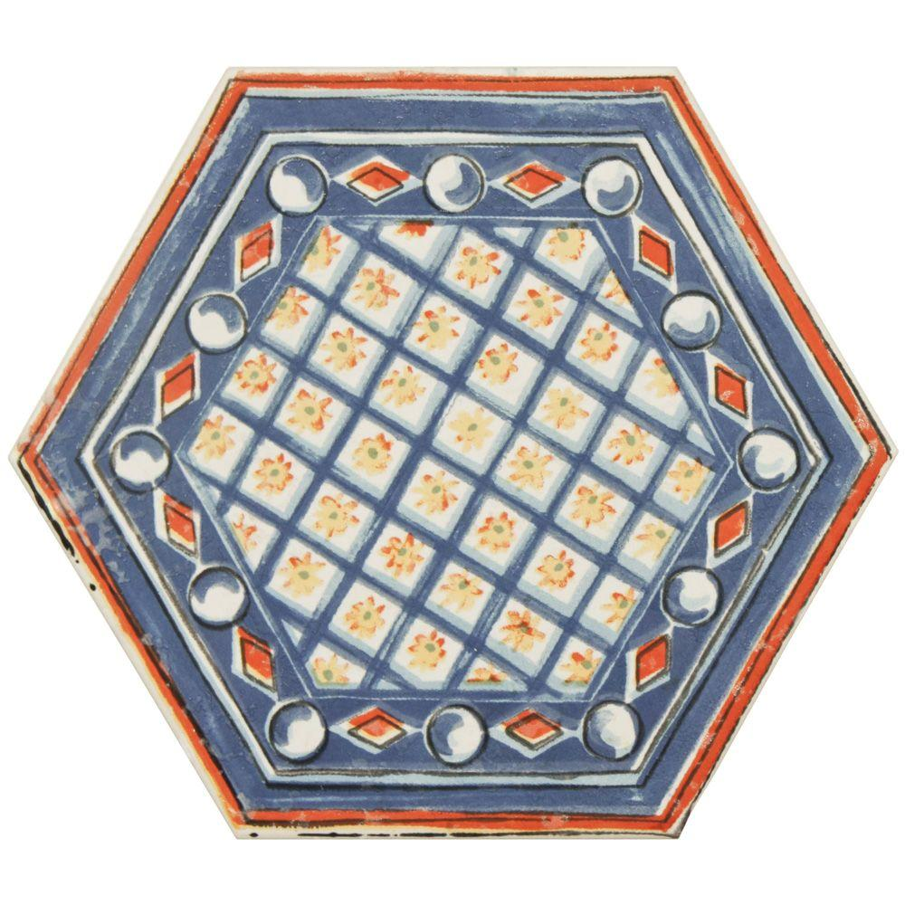 Merola Tile Hexatile Basilica Bene 7 in. x 8 in. Porcelain Floor and Wall Decor Tile