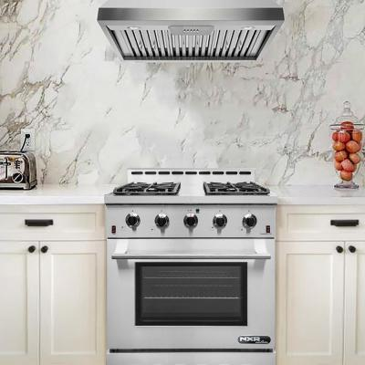 Entree Bundle 30 in. 4.5 cu. ft. Pro-Style Liquid Propane Range Convection Oven Range Hood in Stainless Steel and Black