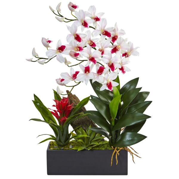 Nearly Natural Dendrobium Orchid and Bromeliad Silk Arrangement. 1470-WH
