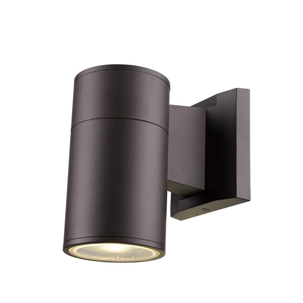 Compact 20-Watt Bronze Outdoor Integrated LED Wall Mount Cylinder Light