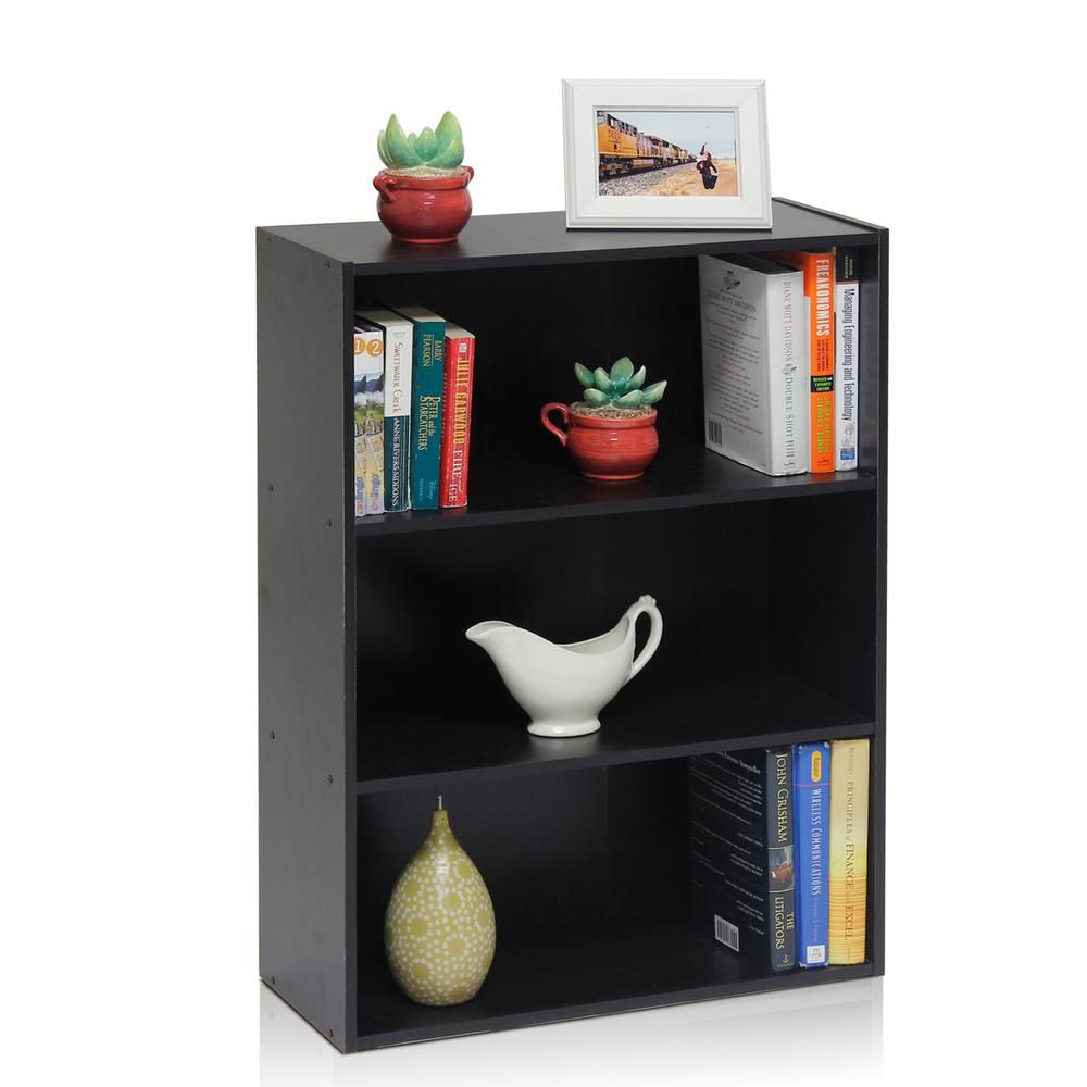 Pasir 3-shelf Espresso Bookcase with open shelves