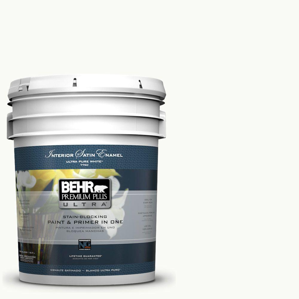BEHR Premium Plus Ultra 5-gal. #PPU18-6 Ultra Pure White Satin Enamel Interior Paint
