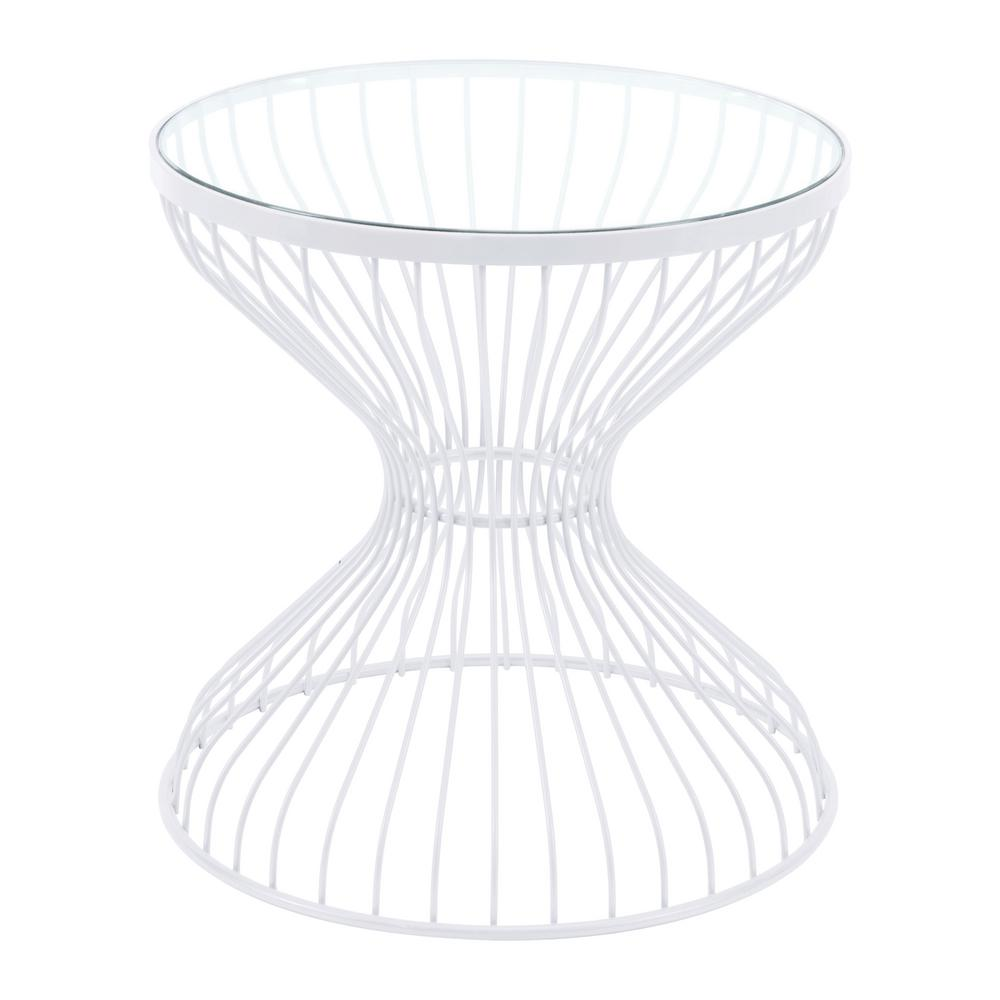 ZUO Rose White Metal Outdoor Side Table