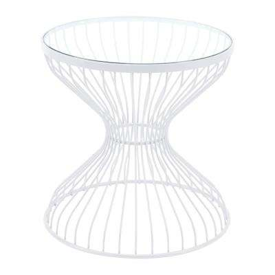 Rose White Metal Outdoor Side Table