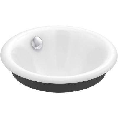 Iron Plains Round Vessel/Drop-In/Under-Mount Cast Iron Bathroom Sink in White with Iron Black Painted Underside