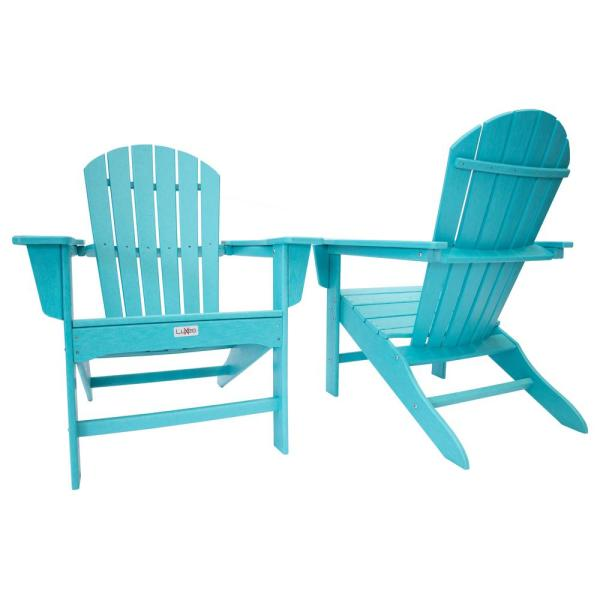 Hampton Aruba Blue Outdoor Patio Plastic Adirondack Chair (2-Pack)