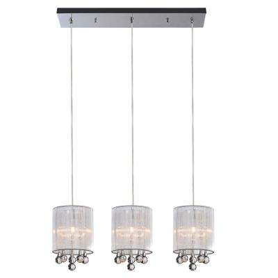 Water Drop 3-Light Chrome Chandelier with Silver shade