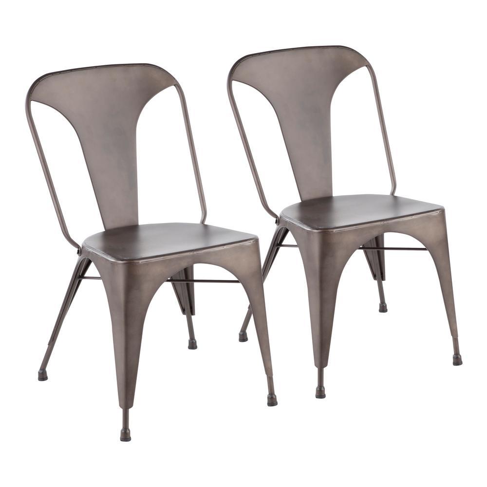 Austin Industrial Dining Chair Metal/Antique Bronze (Set of 2) - LumiSource