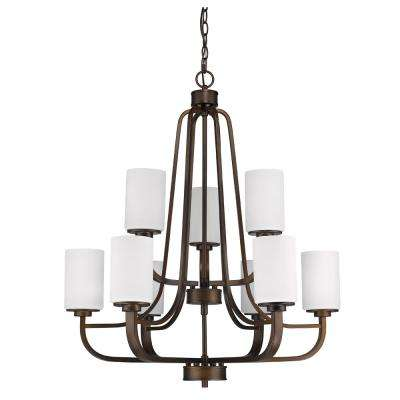 Addison Indoor 9-Light Oil Rubbed Bronze Chandelier with Glass Shades