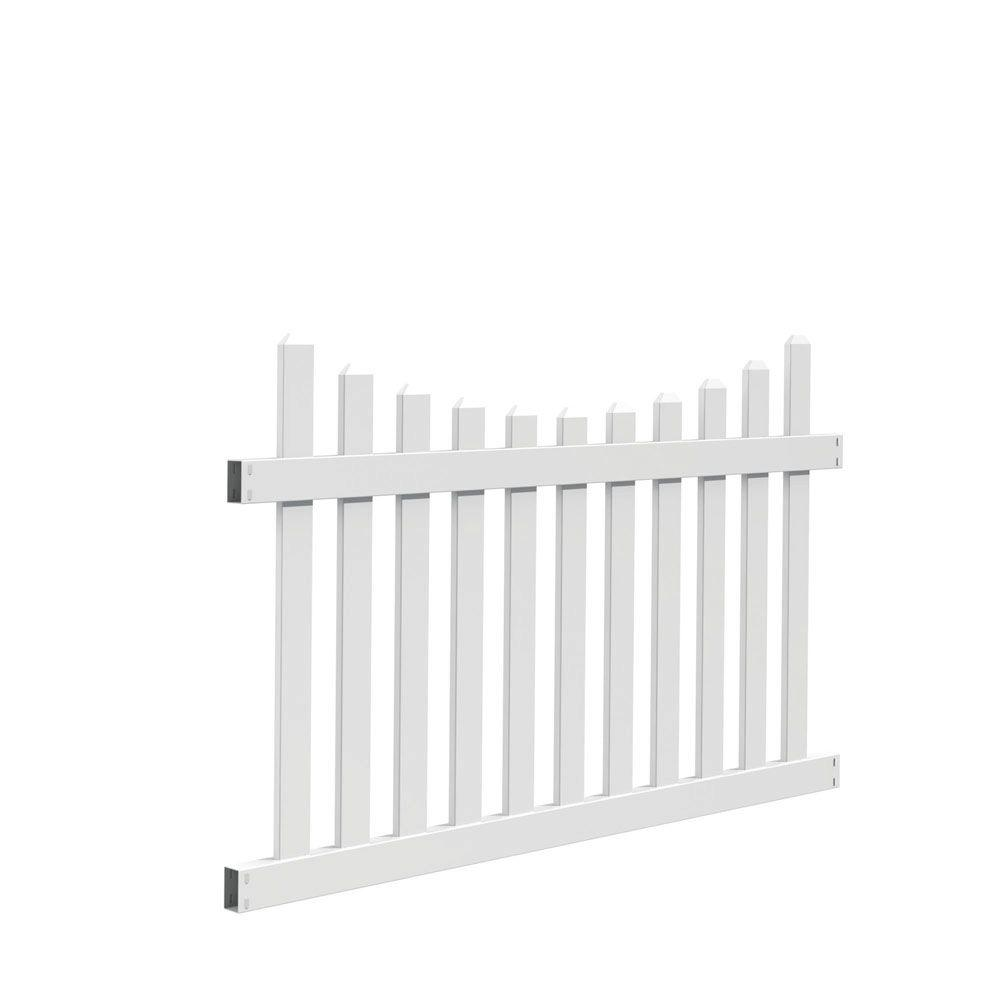 Veranda Seneca Scallop 4 Ft H X 6 Ft W White Vinyl Fence Panel Kit 73014405 The Home Depot