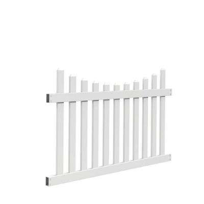 Seneca Scallop 4 ft. H x 6 ft. W White Vinyl Fence Panel Kit