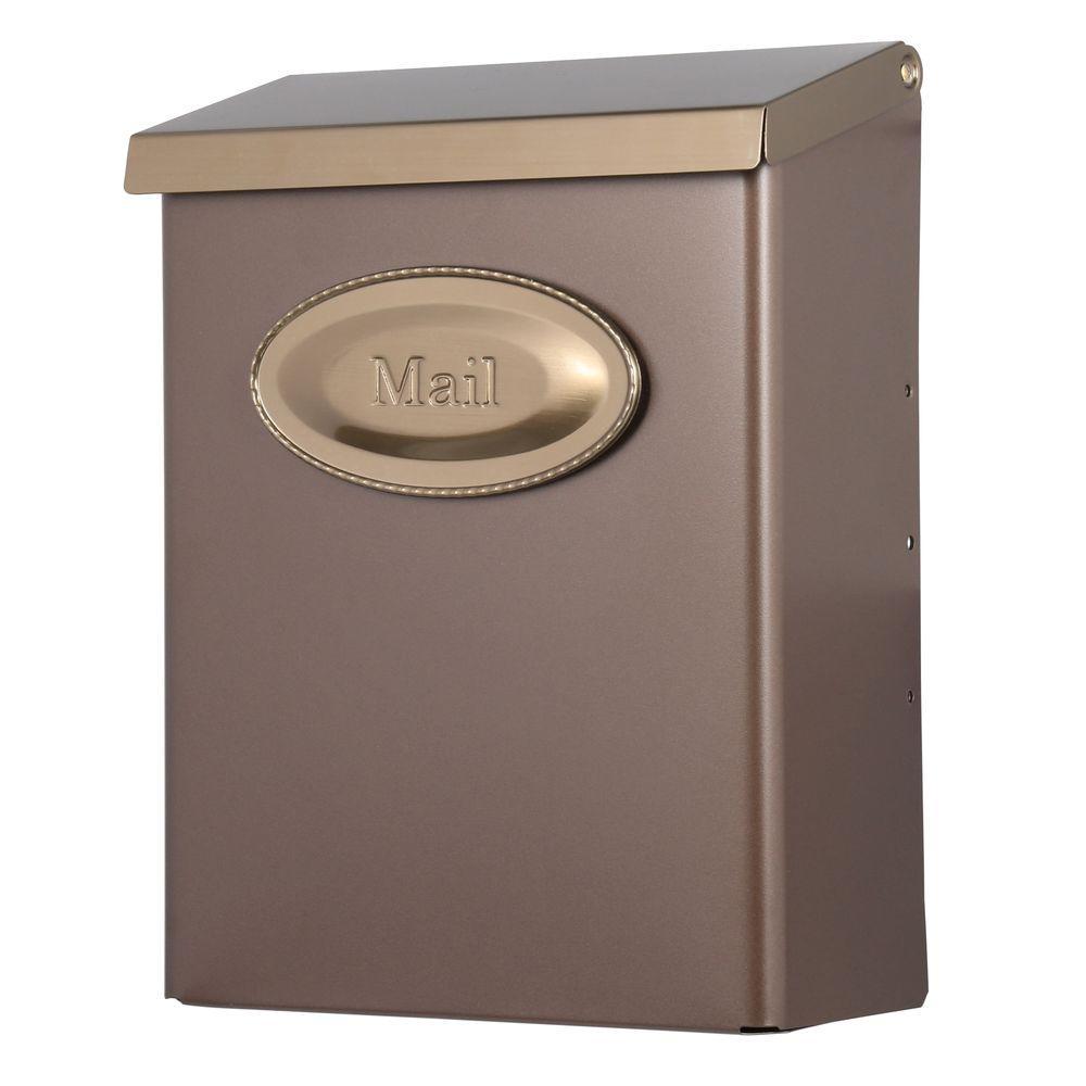 Designer Vertical Wall-Mount Locking Medium Mailbox with Venetian Bronze