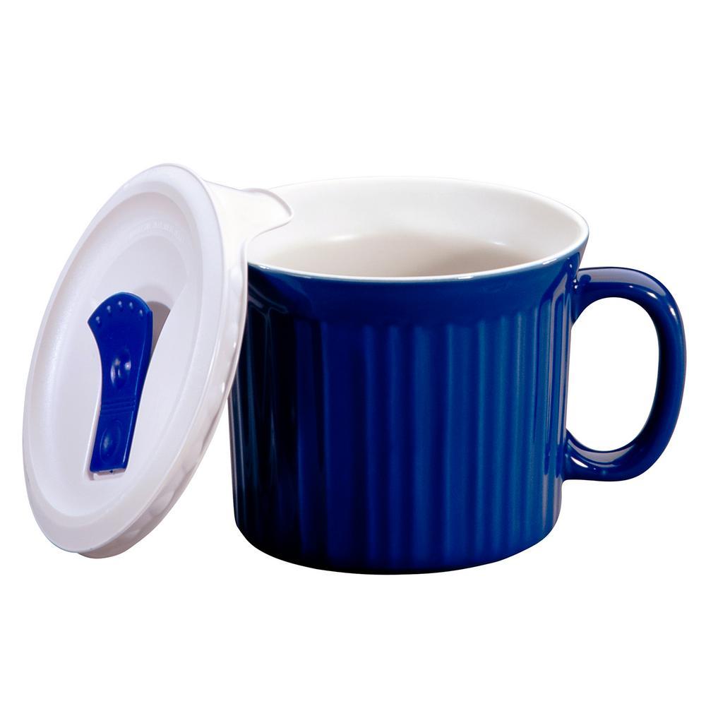 Corningware French White 20 Oz Blueberry Mug With Lid