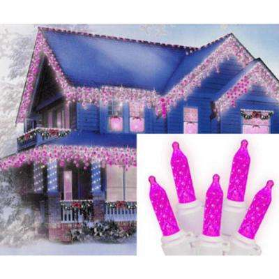70-Light LED Hot Pink M5 Icicle Christmas Lights with White Wire