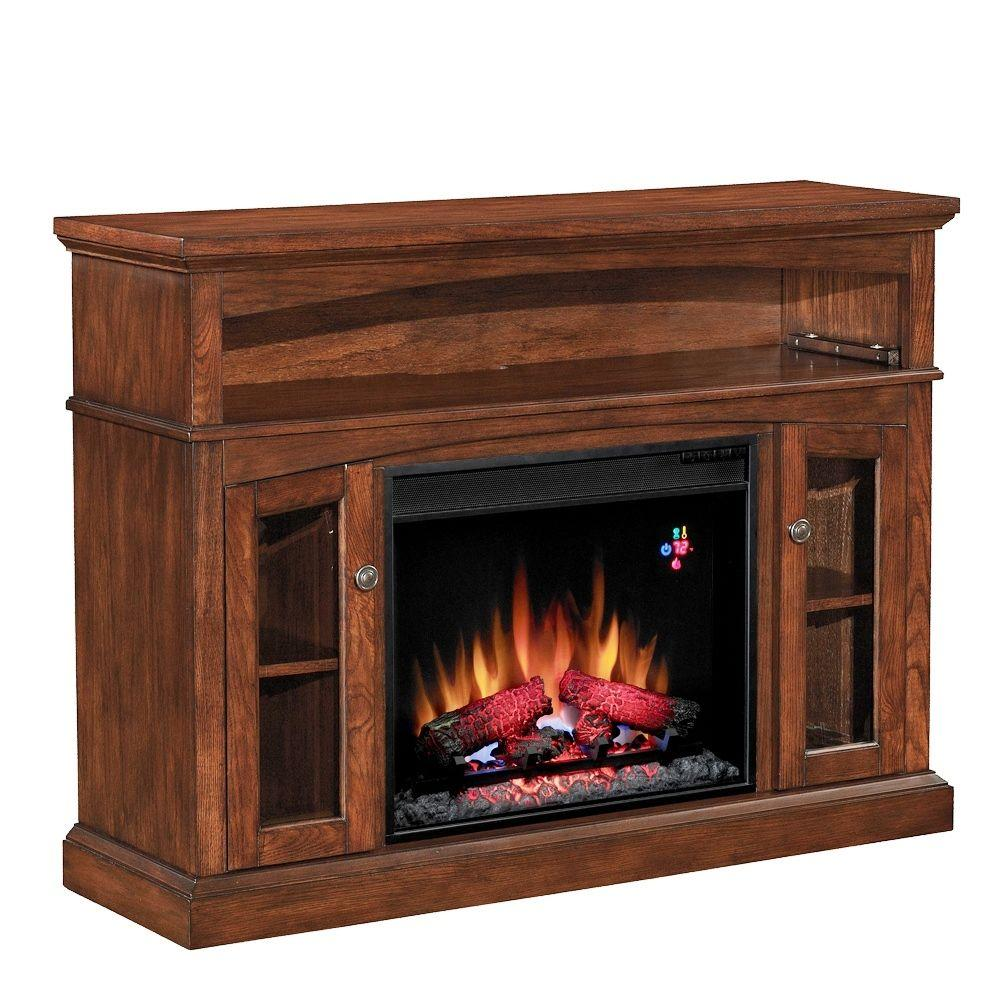 Chimney Free 48 in. Media Console Electric Fireplace in Carmel Oak-DISCONTINUED