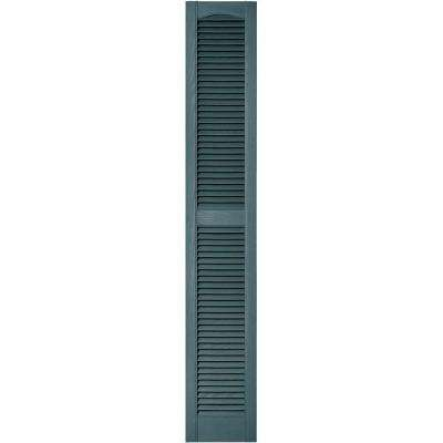 12 in. x 72 in. Louvered Vinyl Exterior Shutters Pair in #004 Wedgewood Blue