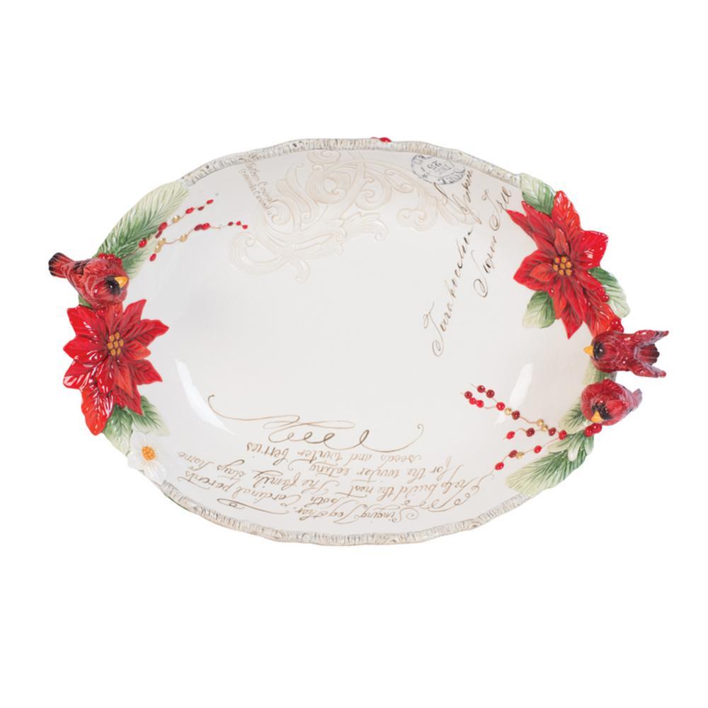 Fitz And Floyd 128 Oz Cardinal Christmas Centerpiece Bowl 49 753 The Home Depot