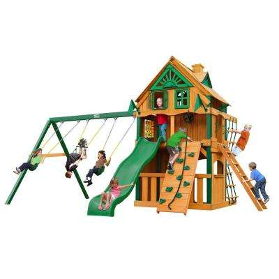 Chateau Clubhouse Treehouse with Fort Add-On and Timber Shield Cedar Swing Set