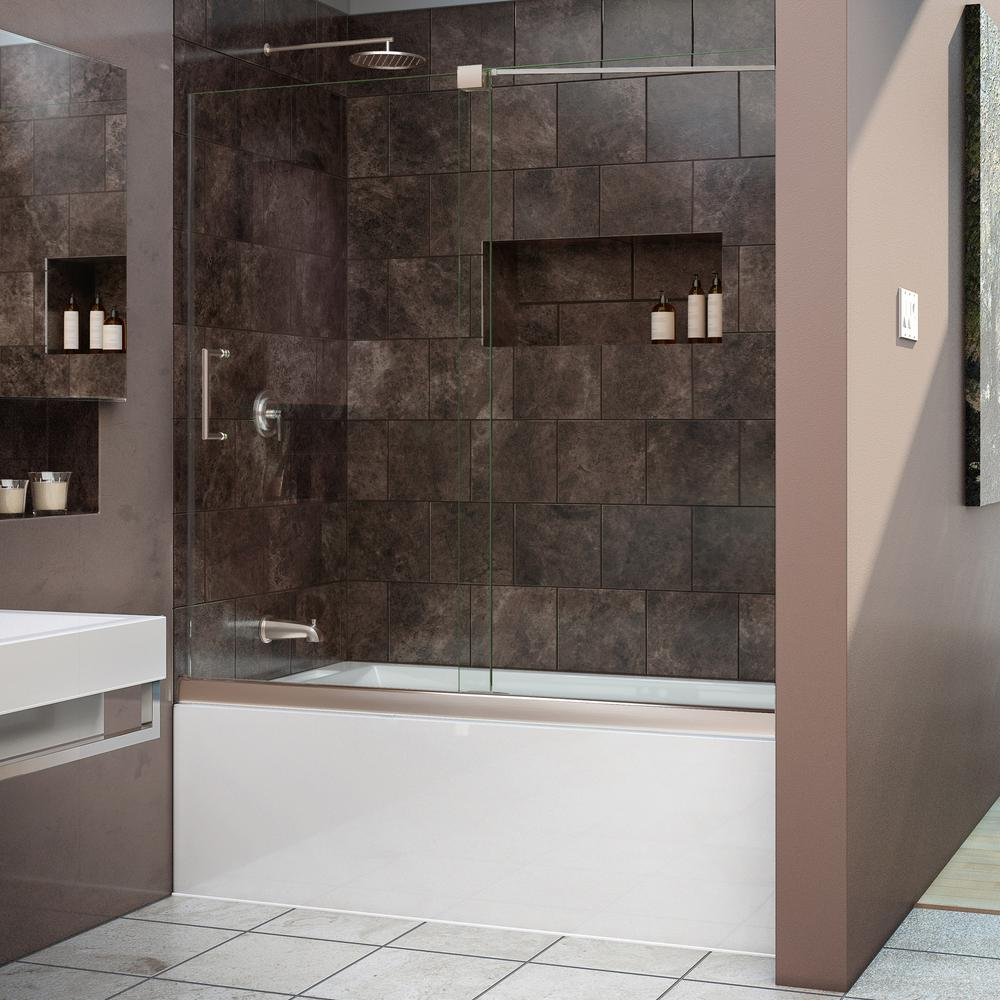 W X 58 In. H Semi Framed Sliding Tub Door In Brushed Nickel With  Handle SHDR 1960582 04   The Home Depot