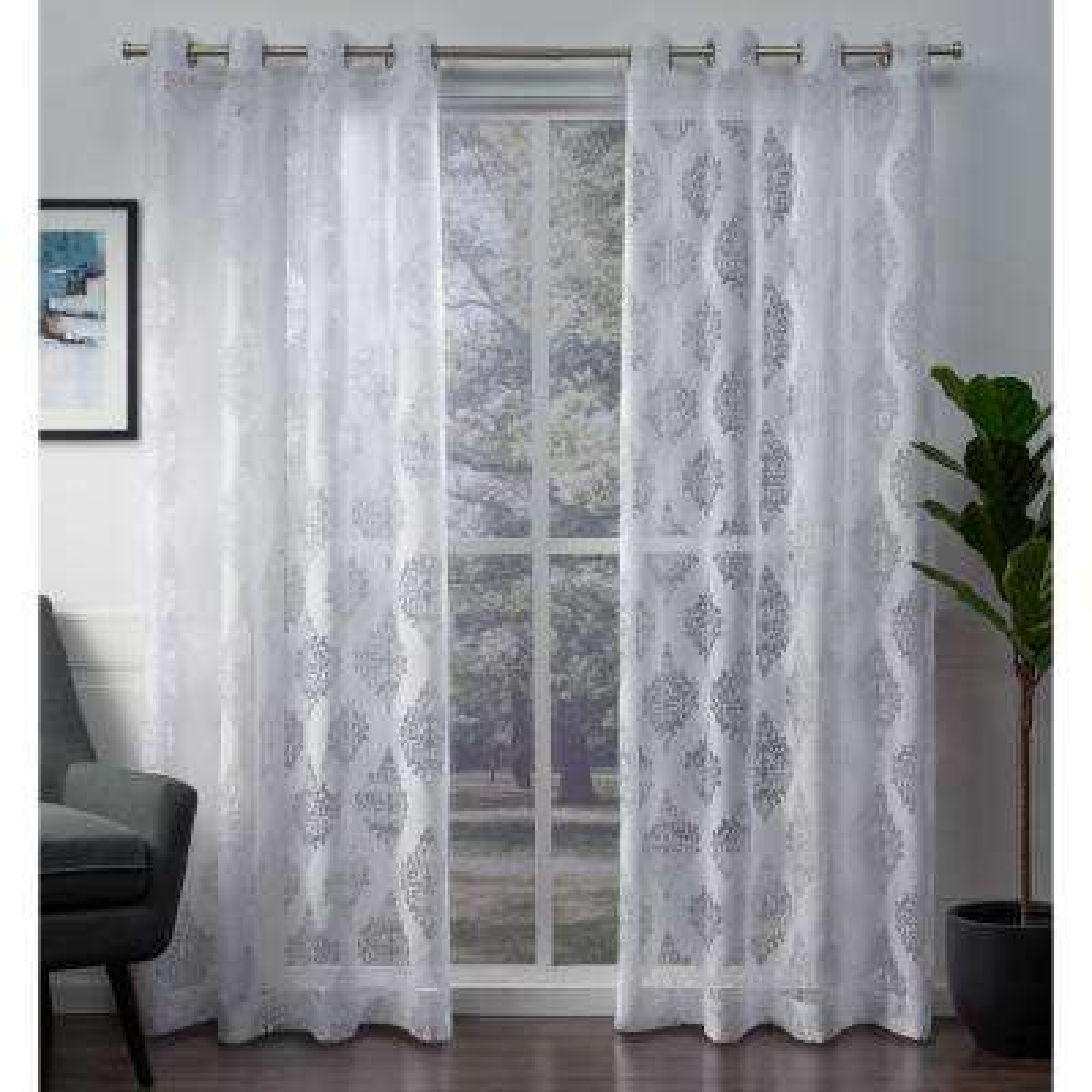 Birmingham 52 in. W x 96 in. L Sheer Grommet Top Curtain Panel in Winter White (2 Panels)