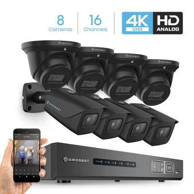 4K 16-Channel 3TB HDD DVR Security Camera System with 8x 4K 8 MP Indoor Outdoor Weatherproof Bullet and Dome Cameras